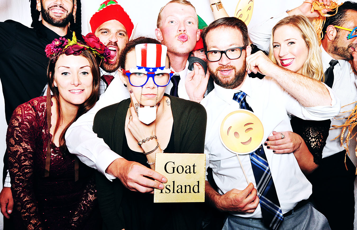 Newport photobooth wedding image from Goat Island - Belle Mer and Hyatt Newport - wedding guests in photobooth