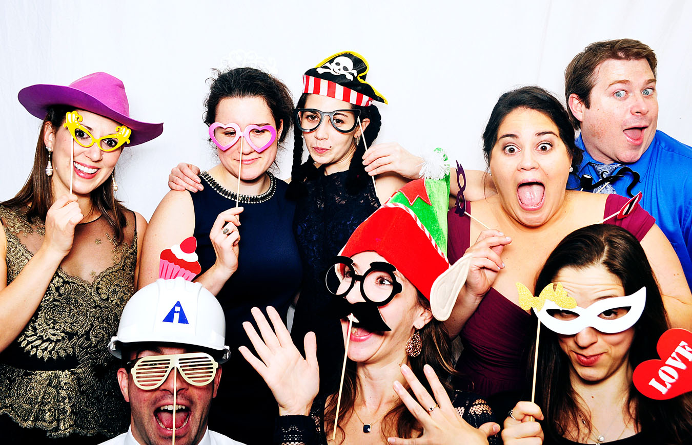 Massachusetts photobooth image of people wearing masks and having fun